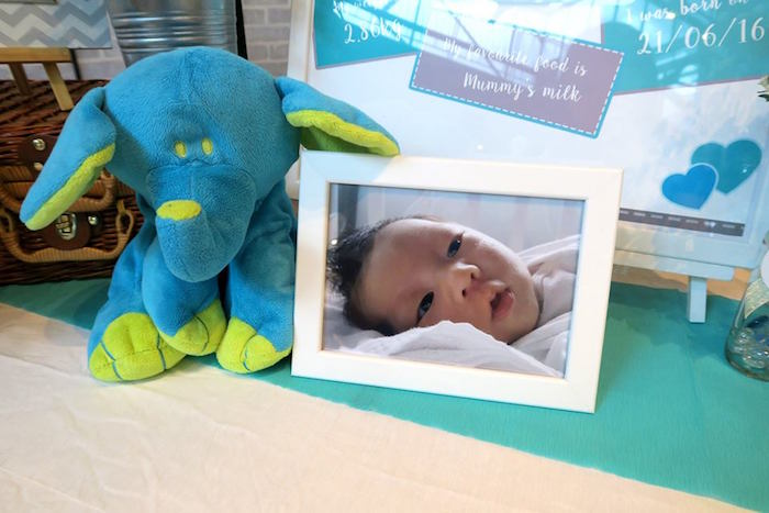 Framed photo and blue baby elephant from a Modern Elephant Baby Shower on Kara's Party Ideas | KarasPartyIdeas.com (13)