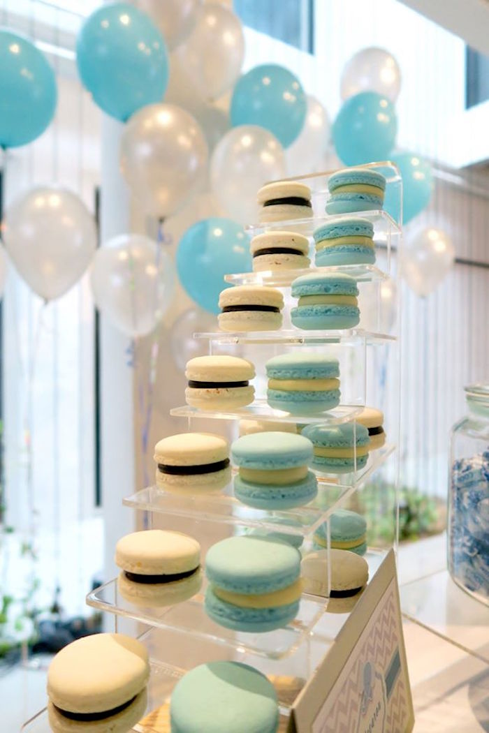 macarons from a modern elephant baby shower on karau0027s party ideas