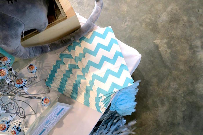 Chevron snack bags from a Modern Elephant Baby Shower on Kara's Party Ideas | KarasPartyIdeas.com (11)