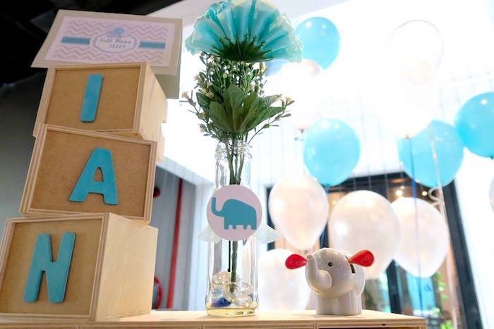 Elephant decorations + giant wooden letter blocks from a Modern Elephant Baby Shower on Kara's Party Ideas | KarasPartyIdeas.com (26)