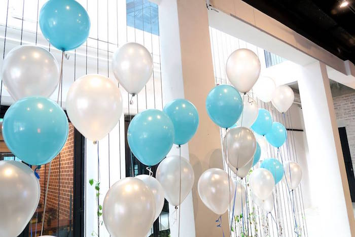 Floating balloon backdrop from a Modern Elephant Baby Shower on Kara's Party Ideas | KarasPartyIdeas.com (23)