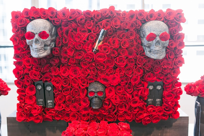 Red rose skull backdrop from a Modern Glam Sephora Party via Kara's Party Ideas KarasPartyIdeas.com (19)