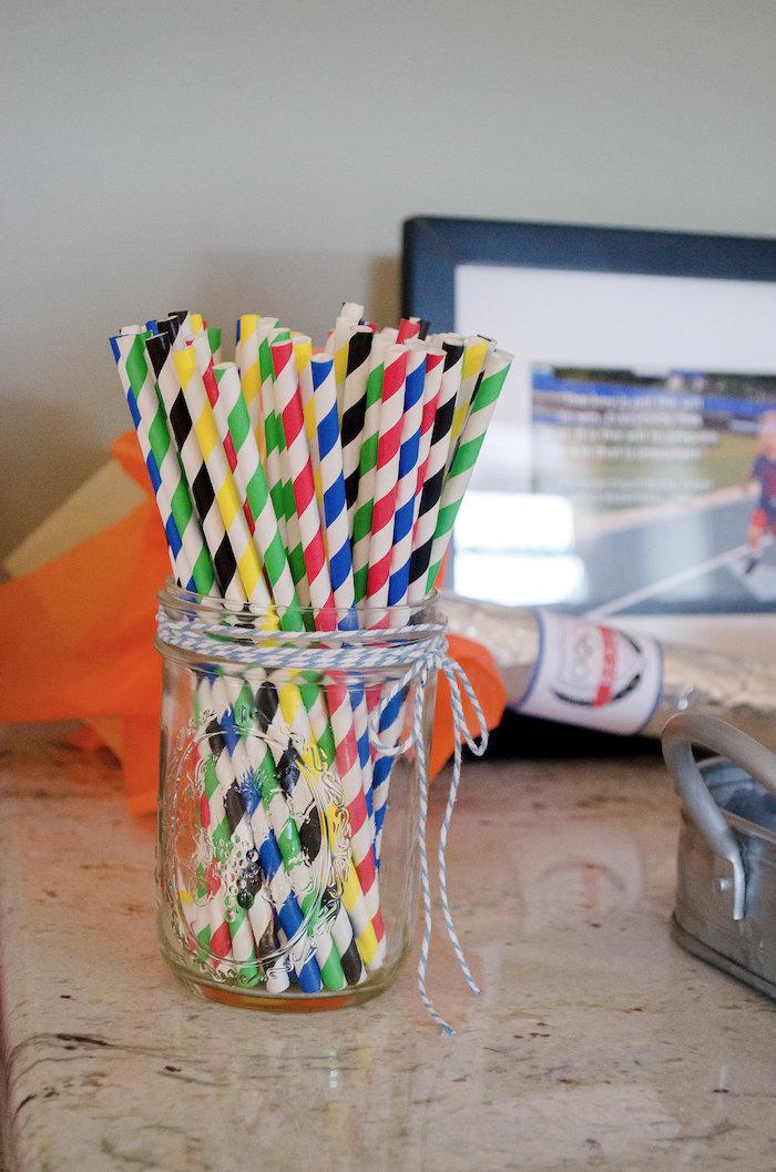 World-inspired striped paper straws from an Olympics Inspired Birthday Party via Kara's Party Ideas   KarasPartyIdeas.com (46)