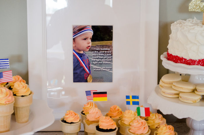Cone cupcakes from an Olympics Inspired Birthday Party via Kara's Party Ideas | KarasPartyIdeas.com (42)
