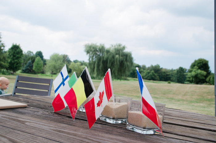Flag centerpieces from an Olympics Inspired Birthday Party via Kara's Party Ideas | KarasPartyIdeas.com (60)