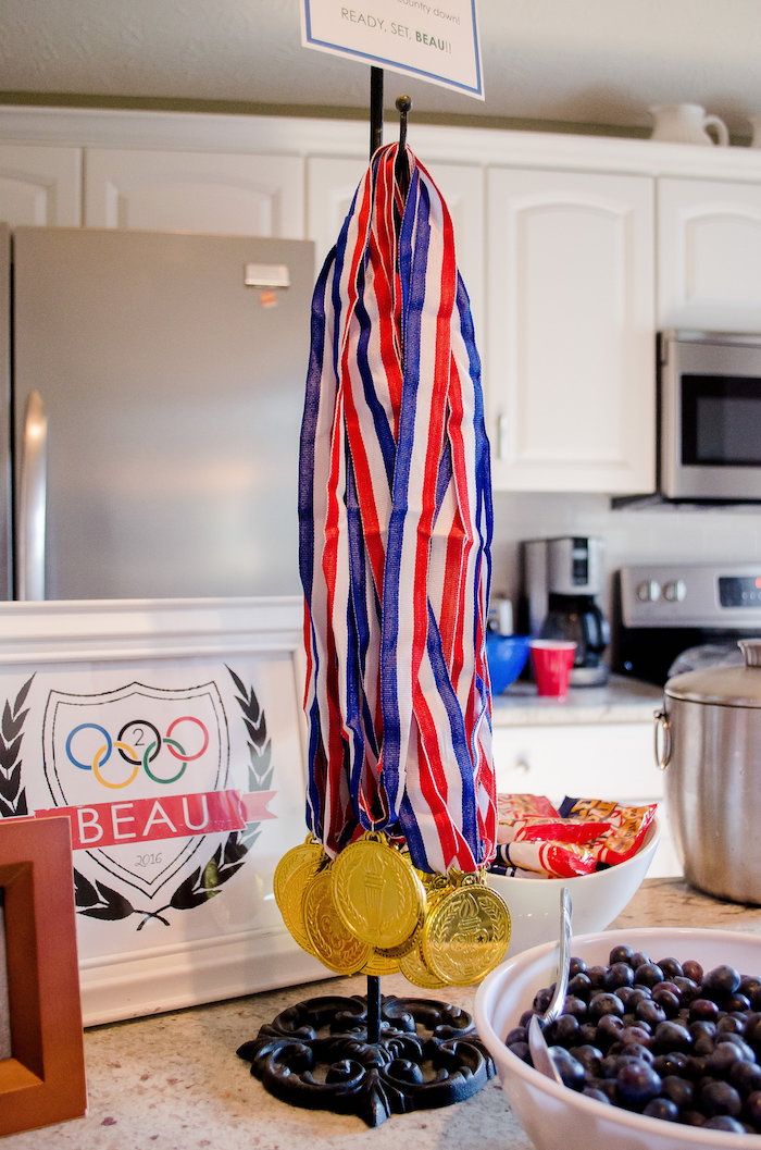 Hanging Gold Medals from an Olympics Inspired Birthday Party via Kara's Party Ideas | KarasPartyIdeas.com (39)
