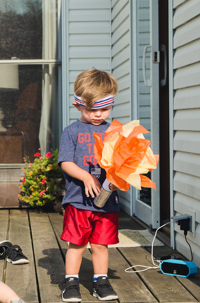 Paper Olympic Torch from an Olympics Inspired Birthday Party via Kara's Party Ideas | KarasPartyIdeas.com (32)