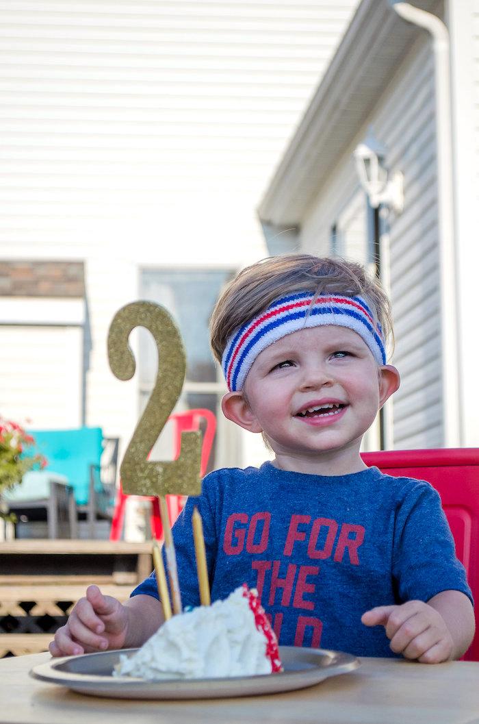 Birthday boy from an Olympics Inspired Birthday Party via Kara's Party Ideas | KarasPartyIdeas.com (21)