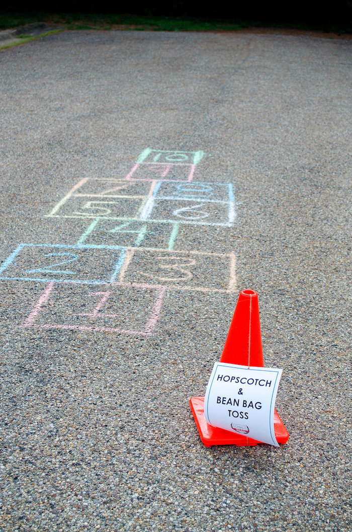 Olympic hopscotch + game zone from an Olympic game zone from an Olympics Inspired Birthday Party via Kara's Party Ideas | KarasPartyIdeas.com (57)