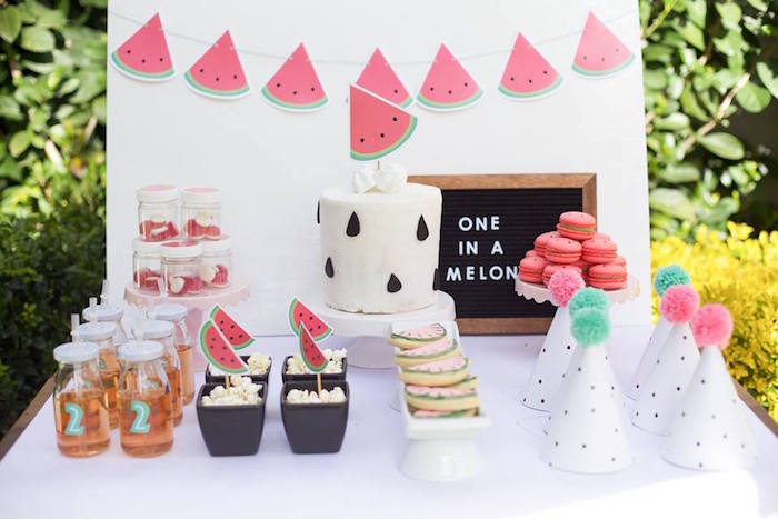 Karas Party Ideas One in a Melon Watermelon Birthday Party