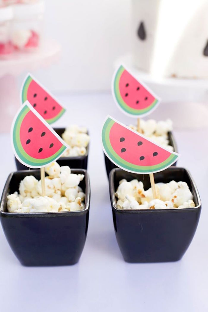 Popcorn dishes from a One in a Melon Watermelon Birthday Party via Kara's Party Ideas KarasPartyIdeas.com (17)