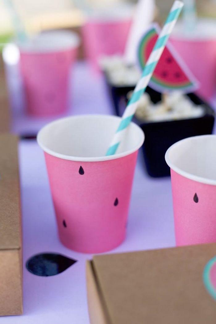 Watermelon cup from a One in a Melon Watermelon Birthday Party via Kara's Party Ideas KarasPartyIdeas.com (13)