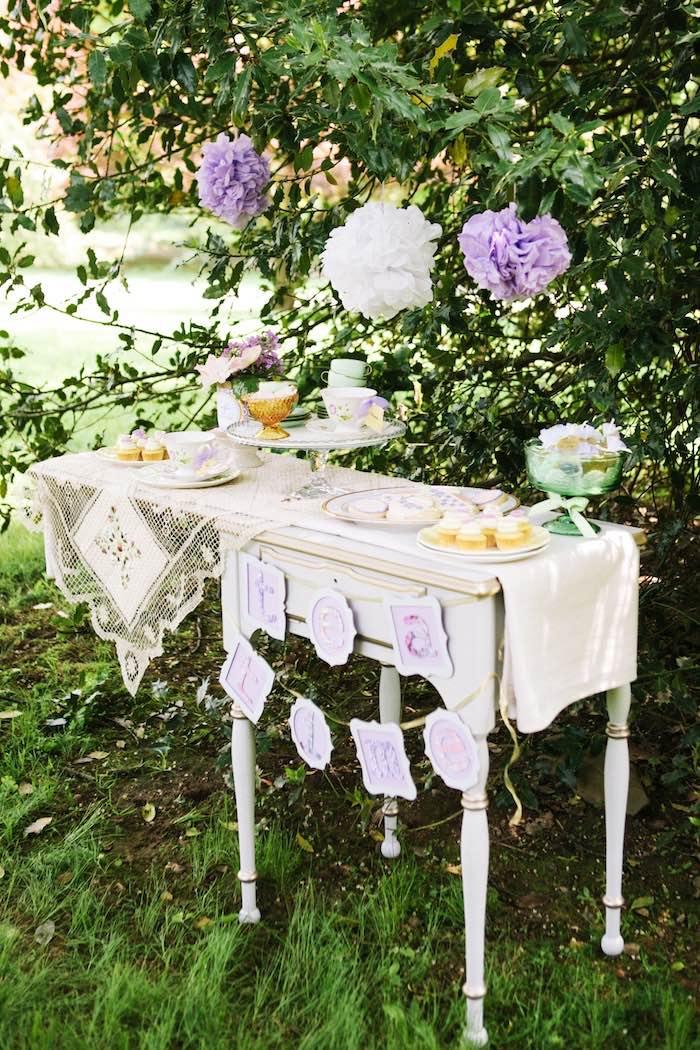 Sweet table from an Outdoor Vintage Tea Party on Kara's Party Ideas | KarasPartyIdeas.com (26)