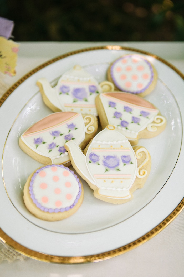 Tea kettle and cup sugar cookies from an Outdoor Vintage Tea Party on Kara's Party Ideas | KarasPartyIdeas.com (25)