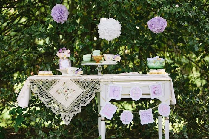 Party table from an Outdoor Vintage Tea Party on Kara's Party Ideas | KarasPartyIdeas.com (21)