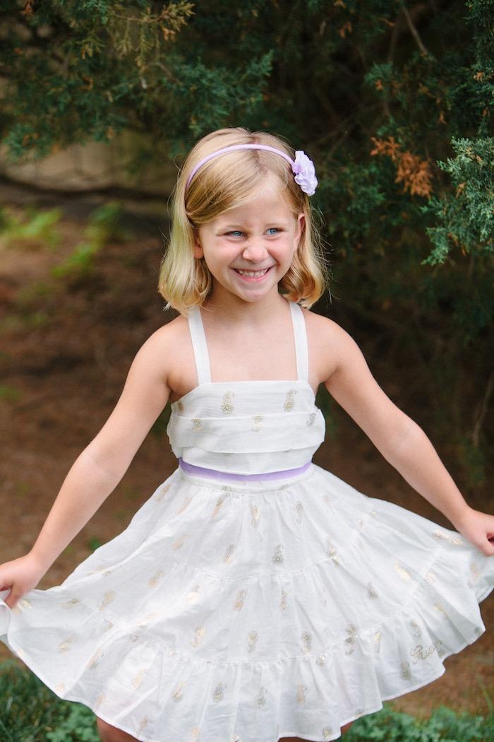 Little girl from an Outdoor Vintage Tea Party on Kara's Party Ideas | KarasPartyIdeas.com (20)