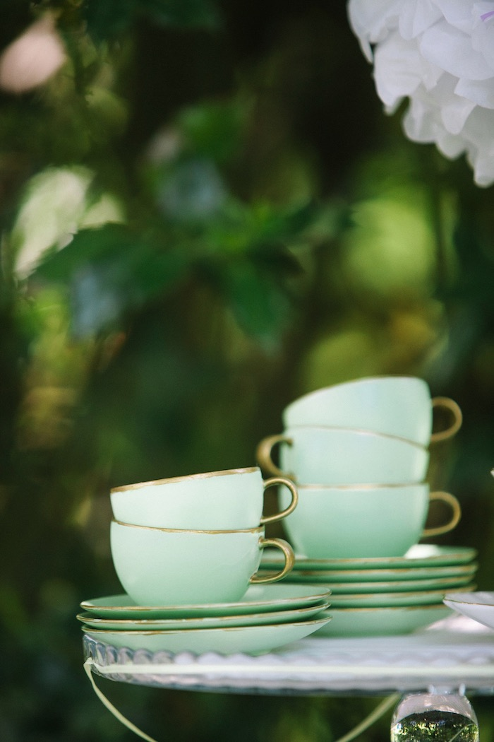 Tea cups and saucers from an Outdoor Vintage Tea Party on Kara's Party Ideas | KarasPartyIdeas.com (16)