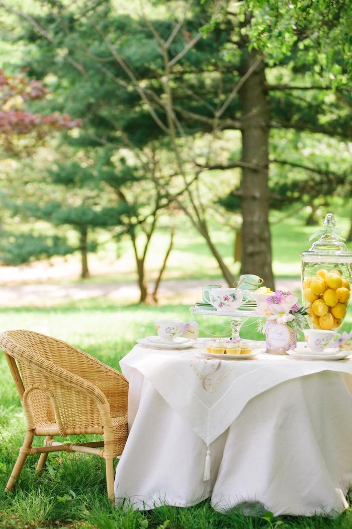 Tea table from an Outdoor Vintage Tea Party on Kara's Party Ideas | KarasPartyIdeas.com (13)