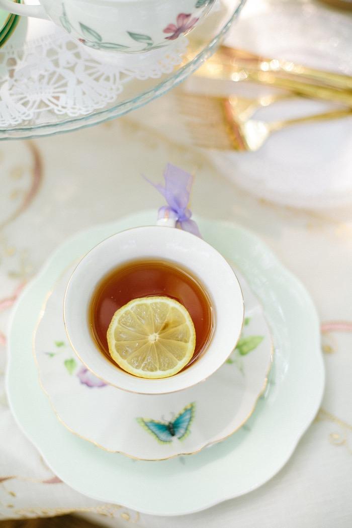 Cup of tea from an Outdoor Vintage Tea Party on Kara's Party Ideas | KarasPartyIdeas.com (11)