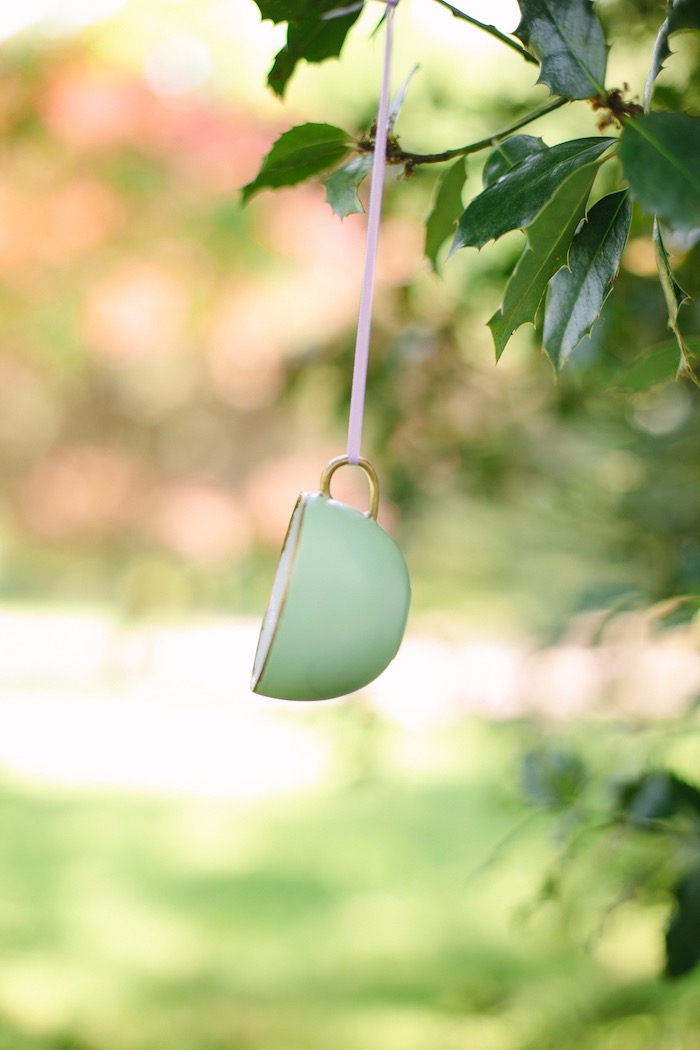 Hanging tea cup from an Outdoor Vintage Tea Party on Kara's Party Ideas | KarasPartyIdeas.com (10)