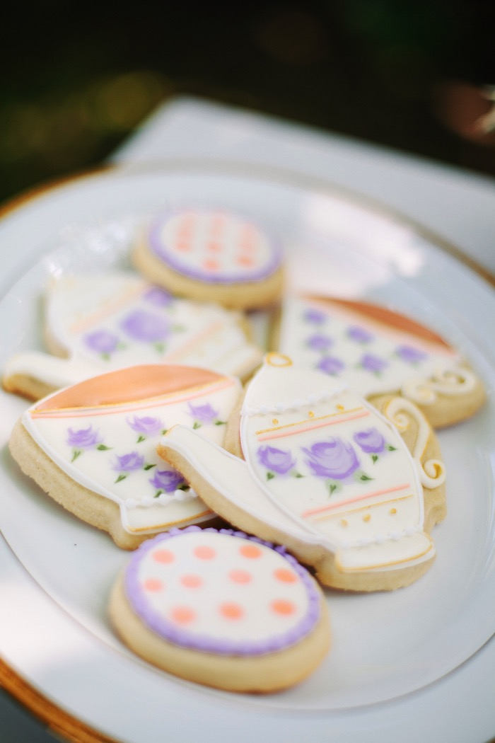 Tea cup & kettle sugar cookies from an Outdoor Vintage Tea Party on Kara's Party Ideas | KarasPartyIdeas.com (8)