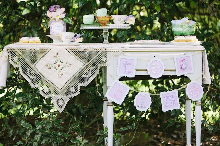 Party table from an Outdoor Vintage Tea Party on Kara's Party Ideas | KarasPartyIdeas.com (32)
