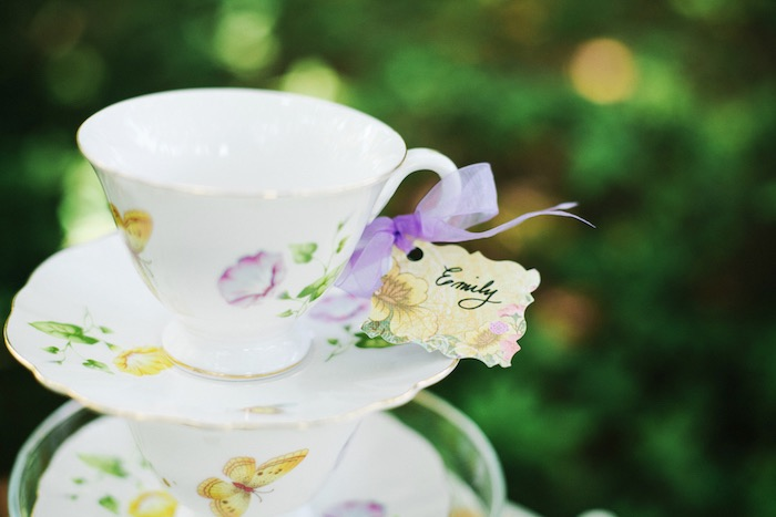 Stacked tea cups and saucers from an Outdoor Vintage Tea Party on Kara's Party Ideas | KarasPartyIdeas.com (30)