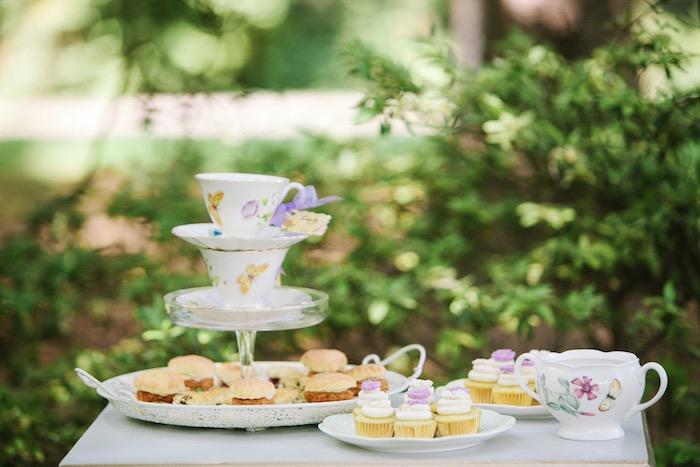 Tea table from an Outdoor Vintage Tea Party on Kara's Party Ideas | KarasPartyIdeas.com (29)