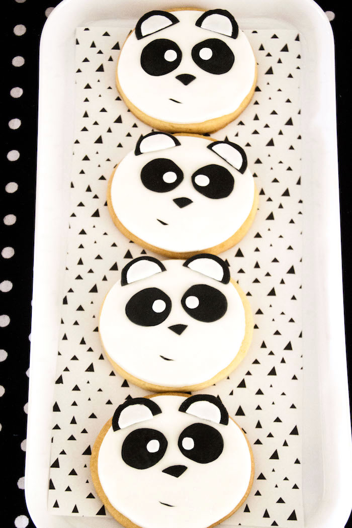 "Panda Bear cookies from a Panda Bear ""Panda-monium"" Birthday Party via Kara's Party Ideas   KarasPartyIdeas.com (13)"