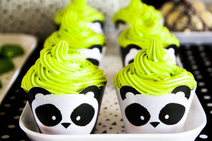 "Panda Bear cupcake wrappers from a Panda Bear ""Panda-monium"" Birthday Party via Kara's Party Ideas 