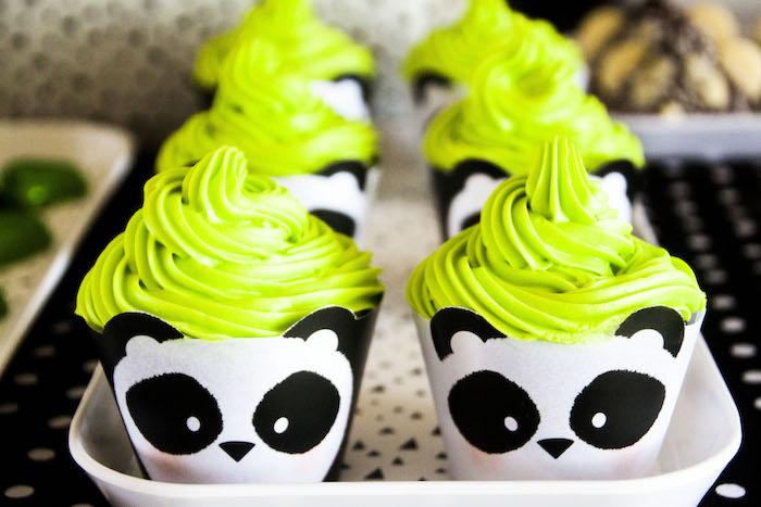 "Panda Bear cupcake wrappers from a Panda Bear ""Panda-monium"" Birthday Party via Kara's Party Ideas   KarasPartyIdeas.com (12)"