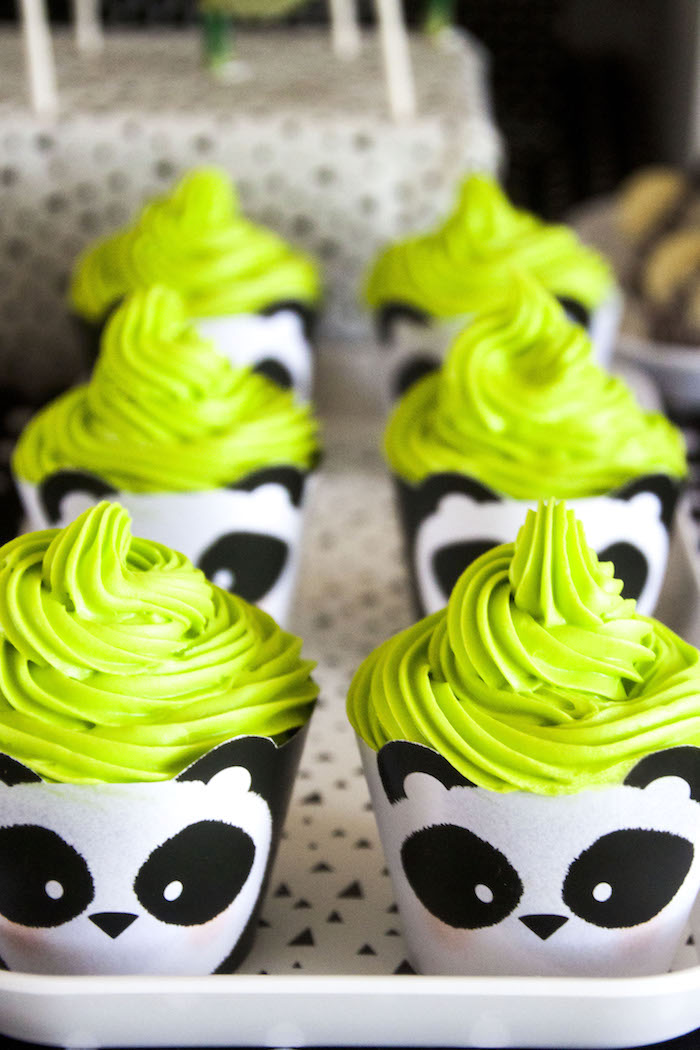 "Panda Bear cupcakes from a Panda Bear ""Panda-monium"" Birthday Party via Kara's Party Ideas 