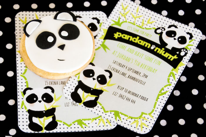 "Panda Bear party invitation from a Panda Bear ""Panda-monium"" Birthday Party via Kara's Party Ideas 