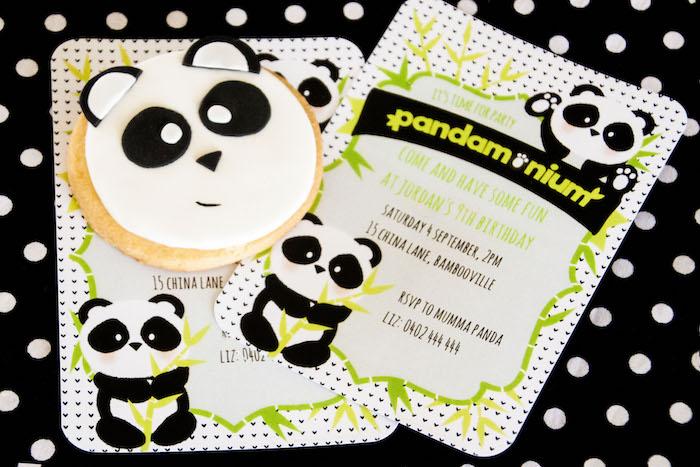 """Panda Bear party invitation from a Panda Bear """"Panda-monium"""" Birthday Party via Kara's Party Ideas   KarasPartyIdeas.com (9)"""