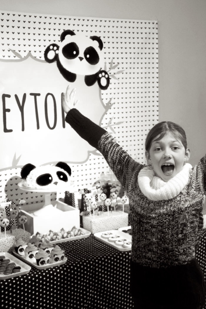 "Birthday girl from a Panda Bear ""Panda-monium"" Birthday Party via Kara's Party Ideas 