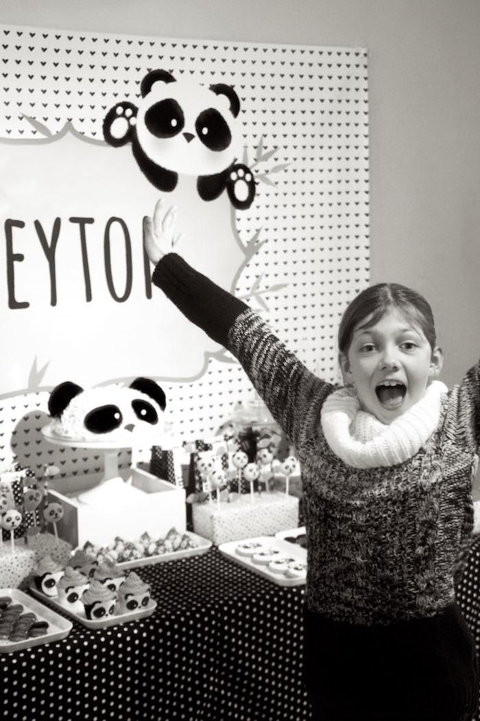 "Birthday girl from a Panda Bear ""Panda-monium"" Birthday Party via Kara's Party Ideas   KarasPartyIdeas.com (4)"