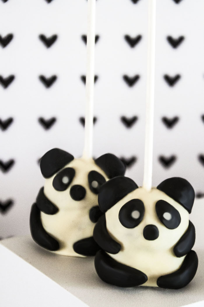 "Cake pops from a Panda Bear ""Panda-monium"" Birthday Party via Kara's Party Ideas 