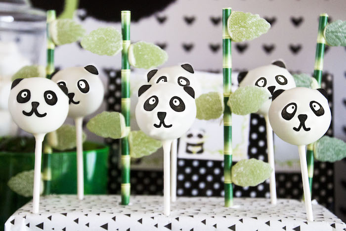 "Panda Bear cake pops from a Panda Bear ""Panda-monium"" Birthday Party via Kara's Party Ideas 