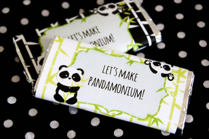 "Candy bars from a Panda Bear ""Panda-monium"" Birthday Party via Kara's Party Ideas 