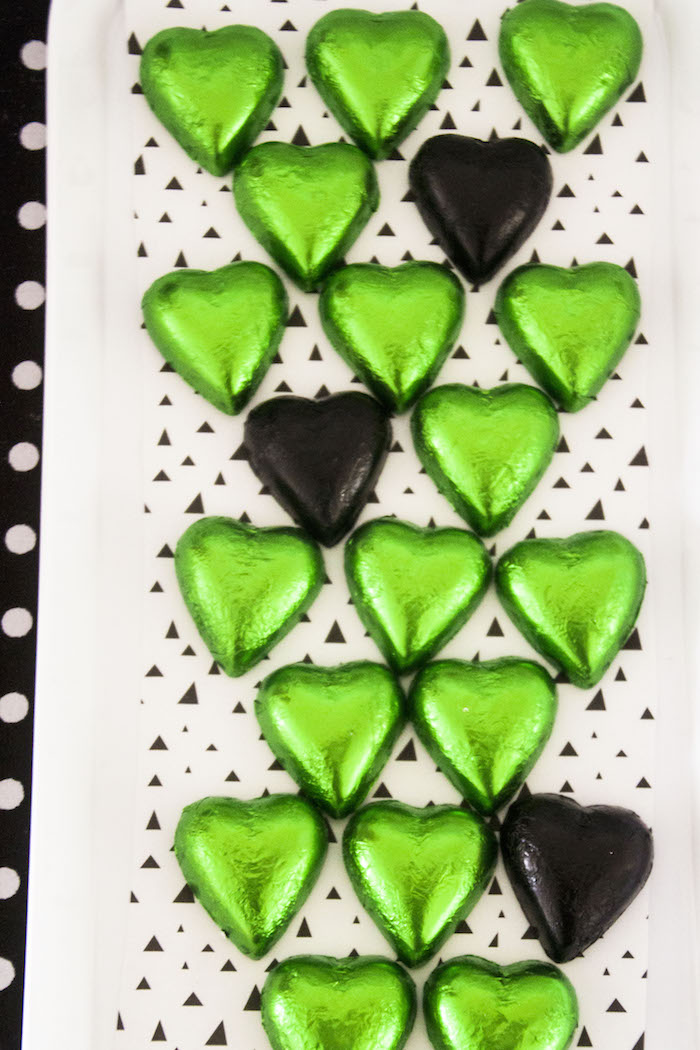 "Heart-shaped chocolates from a Panda Bear ""Panda-monium"" Birthday Party via Kara's Party Ideas 