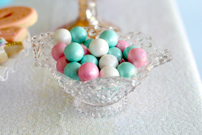 Candy in a crystal dish from a Pastel Iridescent Unicorn 2nd Bday Party on KarasPartyIdeas.com (32)