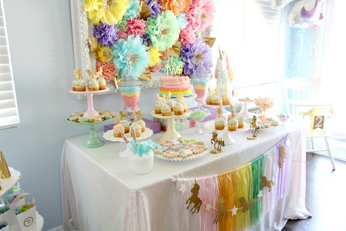 Pastel dessert tablescape from a Pastel Iridescent Unicorn 2nd Bday Party on KarasPartyIdeas.com (31)