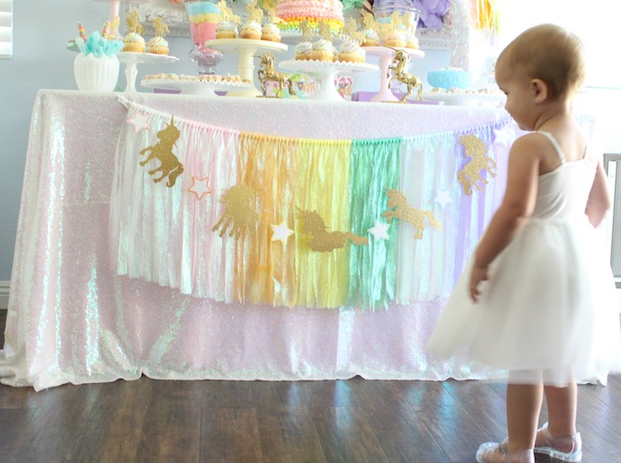 Iridescent tassel garland + banner from a Pastel Iridescent Unicorn 2nd Bday Party on KarasPartyIdeas.com (23)