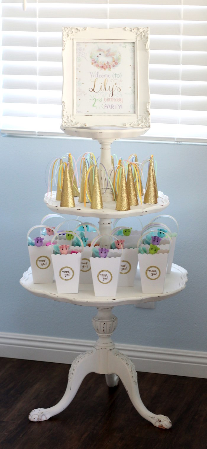 Favor stand from a Pastel Iridescent Unicorn 2nd Bday Party on KarasPartyIdeas.com (41)