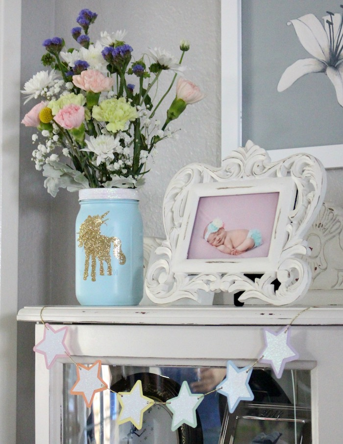 Decor + bunting from a Pastel Iridescent Unicorn 2nd Bday Party on KarasPartyIdeas.com (22)