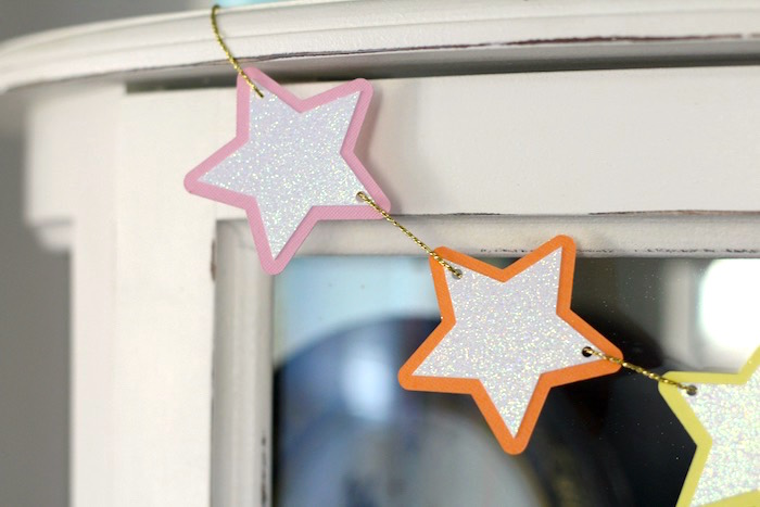 Iridescent star garland from a Pastel Iridescent Unicorn 2nd Bday Party on KarasPartyIdeas.com (19)