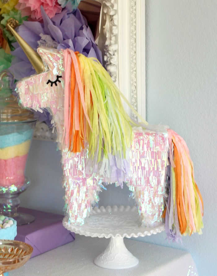 Iridescent unicorn piñata from a Pastel Iridescent Unicorn 2nd Bday Party on KarasPartyIdeas.com (16)