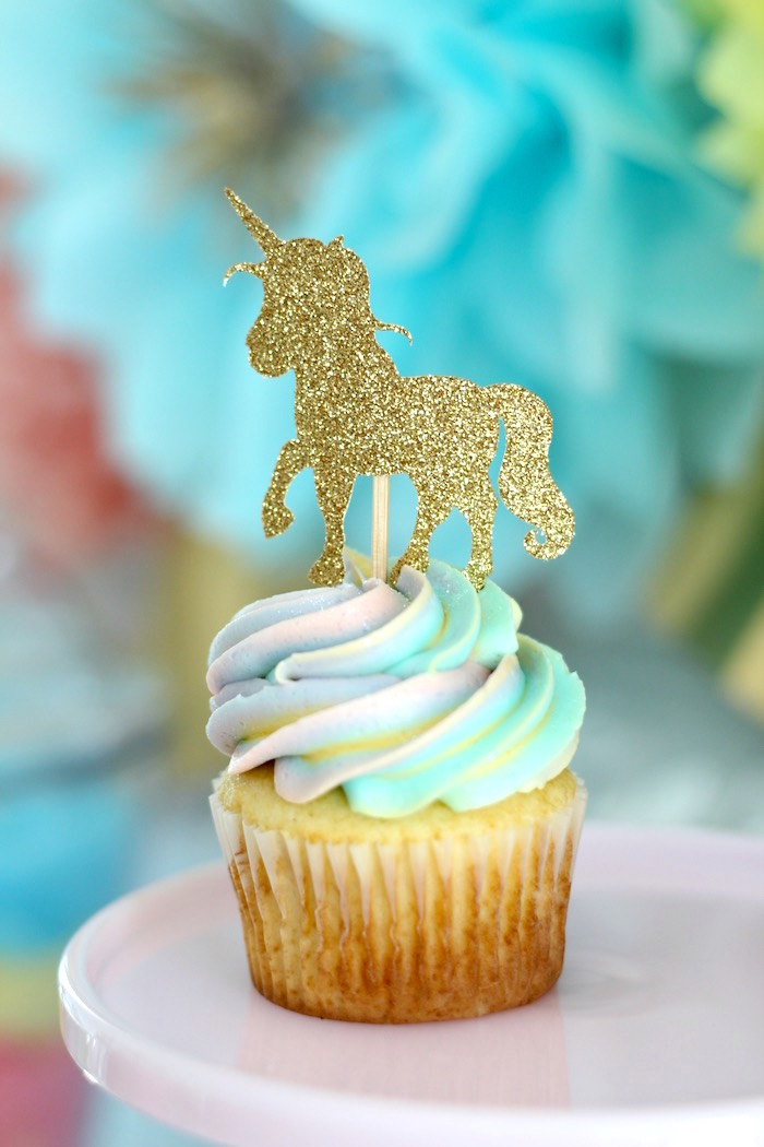 Rainbow unicorn cupcake from a Pastel Iridescent Unicorn 2nd Bday Party on KarasPartyIdeas.com (14)