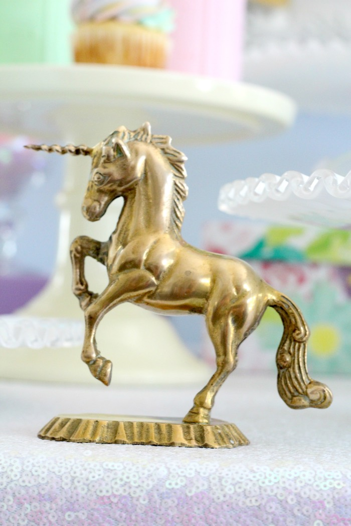 Gold unicorn figurine from a Pastel Iridescent Unicorn 2nd Bday Party on KarasPartyIdeas.com (13)