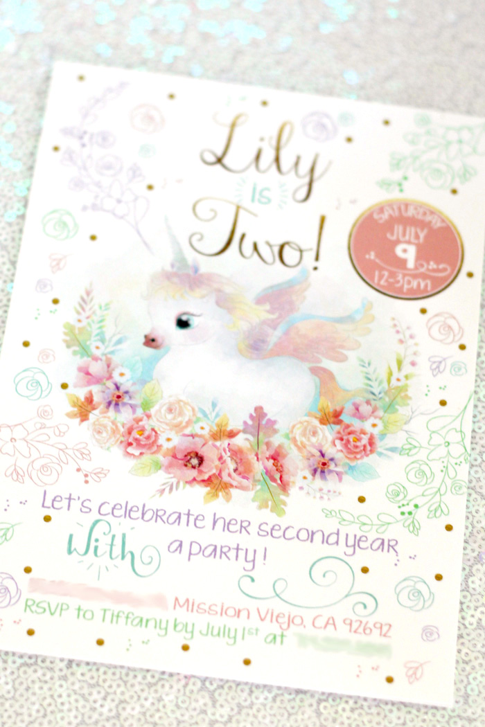 Unicorn invitation from a Pastel Iridescent Unicorn 2nd Bday Party on KarasPartyIdeas.com (40)